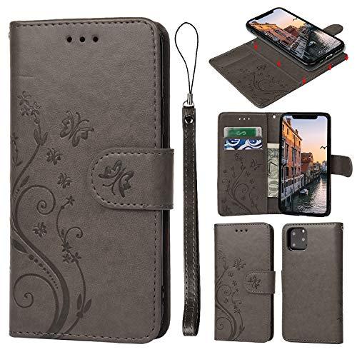 Geniric Leder Handy Hülle für iPhone 7 Flip Wallet Cover Book Style Stand Hülle Card Slot Tasche TPU 2 in 1 Karteneinschub Magnetverschluß Kratzfestes (Grau kleine Liebe)