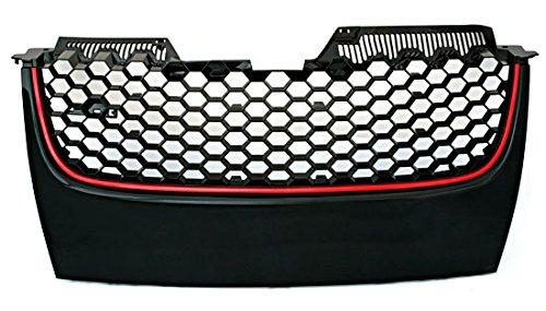 Badgeless Euro Sport Honeycomb Hex Mesh Grill Red Black For VW GTI Jetta MK5 5 06-09