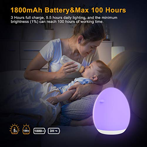LED Touch Night Light for Kids, PREKIAR 1800mAh Portable USB Rechargeable Bedside Table Lamp, 7 Color RGB Gradient 256C, 1Hr Timer, Memory Function, Suitable for Children's Bedroom Baby Gifts, White
