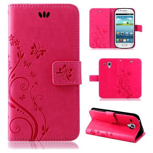 betterfon | Flower Case Handytasche Schutzhülle Blumen Klapptasche Handyhülle Handy Schale für Samsung Galaxy S3 Mini Pink