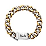 Gold Chain Dog Collar - 18K Gold Plated 20X Thicker - Stainless Steel Chain Martingale Link - 19MM - Easy Secure Snap Buckle - Heavy Duty - Great for Medium Size Dogs