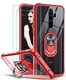 LeYi Funda Xiaomi Redmi Note 8 Pro con [2-Unidades] Cristal Vidrio Templado,Transparente Carcasa con 360 Grados iman Soporte Silicona Bumper Antigolpes Armor Case para Movil Note 8 Pro,Clear Rojo