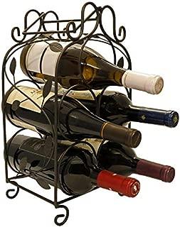 KitchenEdge Rosabel 5 Bottle Metal Wine Rack for Tabletop or Countertop, Free Standing, Metal (Black)