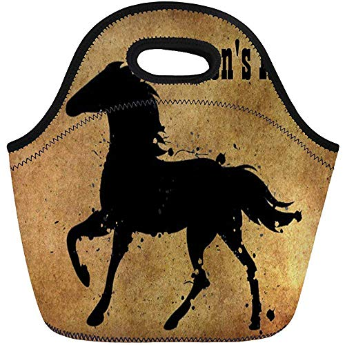 DJNGN Lunch Bags Running Black Wild Horse Silhouette Farm Beautiful Galloping Country Lunch Bag Lunchbox Tote Bag Portable Picnic Bag Cooler Bag