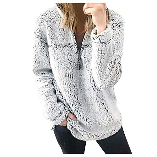Onemopie Thick Plush Sweaters for Women,Fall Winter Warm Loose Casual Top Blouses,1/3 Zipper Stand Collar Long Sleeve Soft Comfy Pullover Sweatshirts Tops