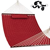 """Lazy Daze Hammocks 55"""" Double Quilted Fabric Hammock Swing with Pillow"""