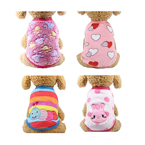 YIKEYO Set of 4 Puppy Clothes for Small Medium Dogs Girl Winter Warm Yorkie Chihuahua Fleece Sweaters Cute Cartoon Animal Pattern Outfits for Pet Cat Size XXS ~XL (B/4PC, X-Small)