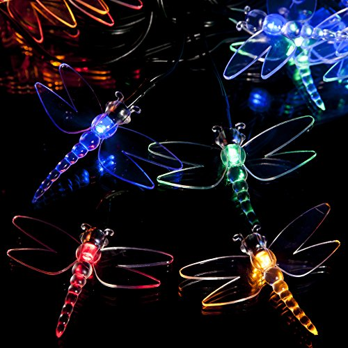 100 Multi-colour LED Dragonfly Solar Powered Fairy Lights - Waterproof Solar Decoration String Lights with Built-in Night Sensor - for Christmas, Outdoor, Garden, Fence, Patio, Yard, Walkway, Driveway, Shed, Garage, Path, Ornament, Stairs and Outside by SPV Lights: The Solar Lights & Lighting Specialists (Free 2 Year Warranty Included)