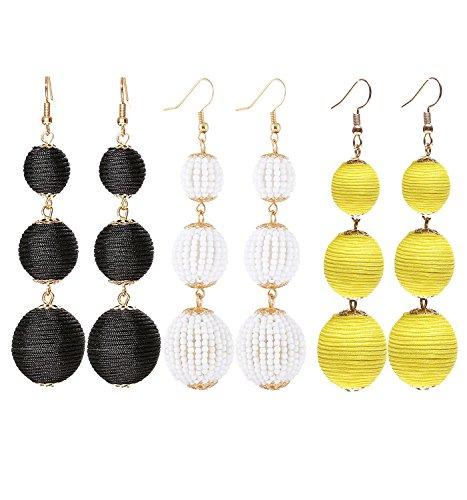 VK Accessories Thread Ball Dangle Earrings Thread Dangle Earrings Soriee Drop Earrings Beaded Ball Ear Drop (3 pairs 03 New)
