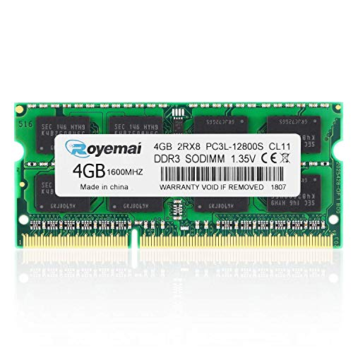 DUOMEIQI 4GB PC3-12800 DDR3 1600MHz PC3L 12800S 2RX8 1,35V CL11 204-pin SODIMM Arbeitsspeicher für Laptop