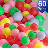 KEVENZ Beer Ping Pong Balls Assorted Color Plastic Ball (60-Pack)