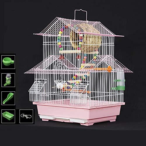 SHIJIU SHIMENG periquito, jaula de cacatúas, jaula de pájaros, juego de 9 piezas para principiantes, soporte, nido, comedero. Portátil, asa para colgar, villas de lujo (rojo)