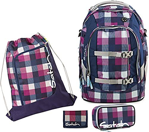 Satch by Ergobag Schulrucksack-Set 4-tlg Berry Carry 966 karo lila-blau