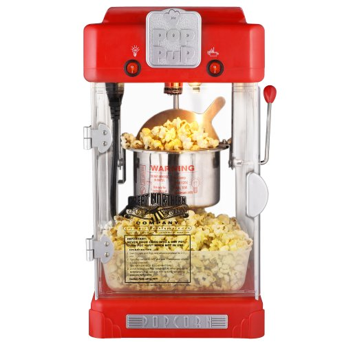 Pop Pup Countertop Popcorn Machine – Tabletop Popper Makes 1 Gallon – 2.5-Ounce Kettle, Catch Tray Warming Light & Scoop by Great Northern Popcorn