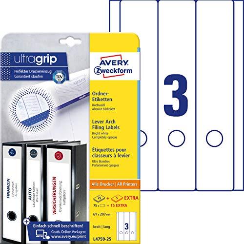 AVERY Zweckform L4759-25 Ordnerrücken Etiketten (90 Rückenschilder mit ultragrip, 61x297mm auf A4, breit/lang, selbstklebend, absolut blickdicht, bedruckbare Ordneretiketten) 30 Blatt, weiß
