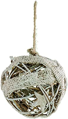 WT Collection Large Grapevine & Burlap Ball, 28, Cream & Brown
