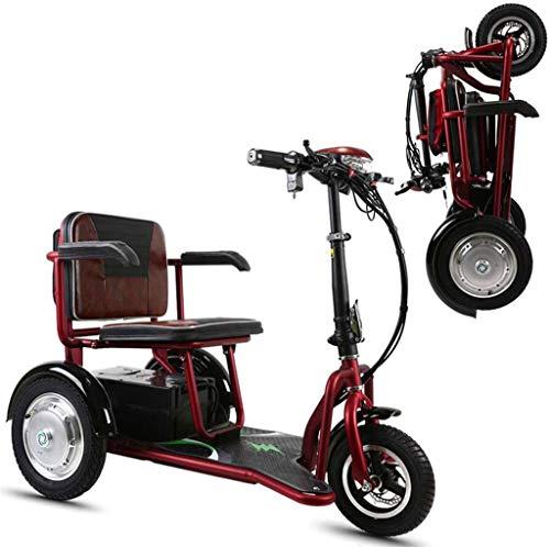 RDJM Leichte Faltbare Elektro-Rollstuhl Elektroroller Klapp Dreirad 48v20A Doppelantrieb 700W starker Energie 55km...