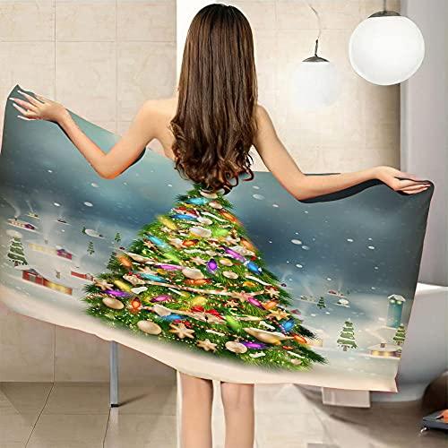 LHUTY Toalla de Playa árbol de Navidad 90 x 180 cm Toalla de Piscina de impresión 3D Extra Grande de Microfibra de Secado rápido Playa y Viaje