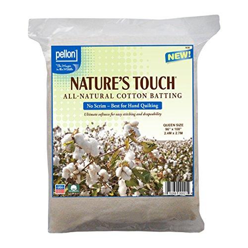 "Pellon N-96 Nature's Touch 100% Natural Cotton Batting, No Scrim - Queen 96"" X 108"""