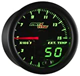 MaxTow Double Vision 1500 F Pyrometer Exhaust Gas Temperature EGT Gauge Kit - Includes Type K Probe - Black Gauge Face - Green LED Dial - Analog & Digital Readouts - for Diesel Trucks - 2-1/16' 52mm