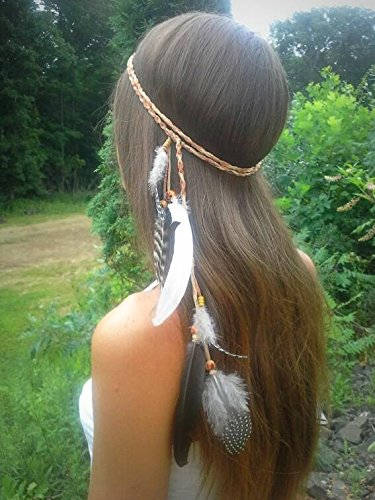 Campsis Indian Princess Peacock Feather Head Chain Boho Adjust Headband Gypsy Handmade Rope Headdress Hair Accessories for Women and Girls