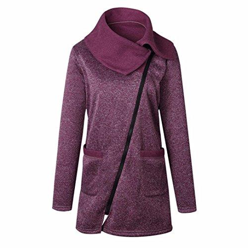 Manteau Femmes Hiver, Toamen Manteau à glissière latérale à manches longues Sweat long à glissière Hauts de vêtements Décontractée (4XL, rouge)