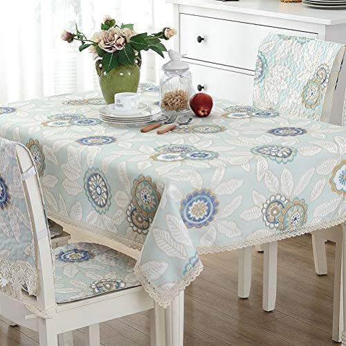 WHDJ Heat Resistant Tablecloth for Home and Party,White Lace Thicken Soft Table Waterproof Cloth,No-Fade Anti-Wrinkle Table Cover (Round,Rectangle,Square)