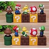 Super Mario Brothers Birthay Cake Topper, Mini Super Mario Bros Action Figures Collection Playset Mario, Luigi, Mushroom, Goomba, Koopa Troop 2'