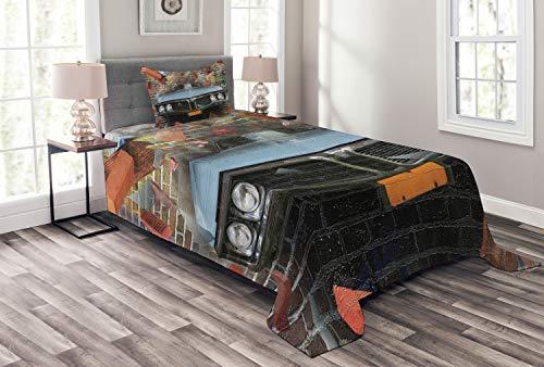 ABAKUHAUS Voitures Couvre-Lit, Style du Graffiti Street Art, pour la Chambre, 170 x 220 cm, Multicolore