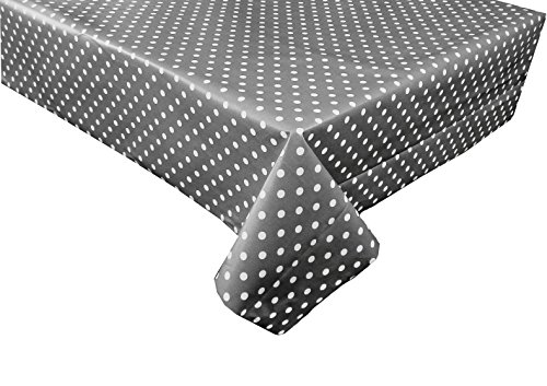 linen702 Vinyl Pvc Tablecloth Slate Grey Polka Dot 2 metres (200x137cm) 6 Seater Size Rectangle Table, Wipe Clean, Textile Backed plastic table cloth (193)