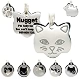 Stainless Steel Cat ID Tags - Engraved Personalized Cat Tags Includes up to 4 Lines of Text with Cat Shape