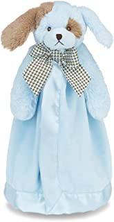 Bearington Baby Waggles Snuggler, Plush Puppy Dog Security Blanket, Lovey (Blue) 15