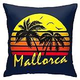 WH-CLA Couch Cushions Mallorca Vintage Sun Anime Living Quarters Funda De Almohada Suave Duradera 45X45Cm Fundas De Almohada Sofá Decorativo Personalizado Hogar Cama Fiesta Cremallera Do