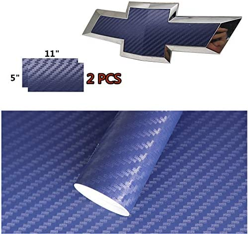 xyc Compatible with Chevrolet 2 pcs Carbon Fiber for Chevy Bowtie Emblem Overlay Sheets Front/Back Vinyl Decal Wrap