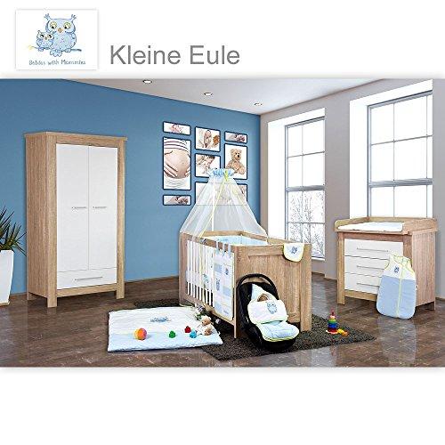 Babyzimmer Enni 20-tlg. in der Farbe Sonoma/Weiß mit 2 türigem Kl. + Textilien Kleine Eule, Blau