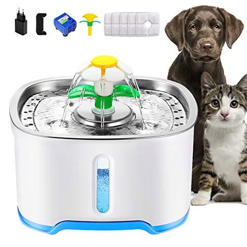 Wilktop Katzen Trinkbrunnen,Haustierbrunnen mit 5 Aktivkohlefilter Wasserstandsfenster, Leuchtende LED,4 Arten Brunnenwasserfluss Automatischer Katze Wasserspender für Hunde.