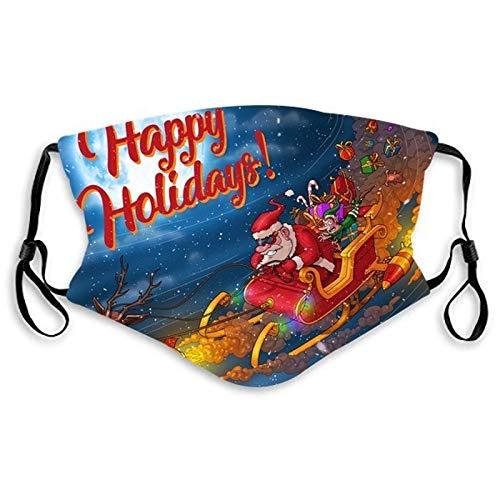 N / A Weihnachtsdruckschutz, spaßneutrale staubdichte Baumwolle für Erwachsene, waschbares, wiederverwendbares Baumwollgewebe, Outdoor