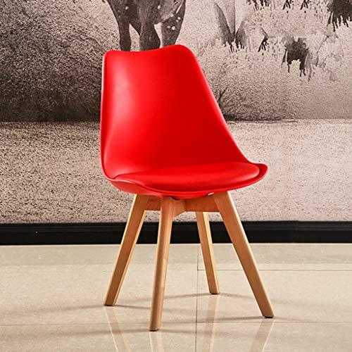 LLLD Tulip Sillas de plástico de madera para comedor, taburete retro de cuero suave para hotel oficina, comedor, silla de negociación (color: rojo)