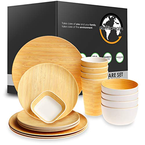 Earth's Dreams Reusable Bamboo Fiber Tableware Dinnerware Set – Perfect for Home, Office, Hotel, Restaurant, Wedding - Wooden Design Plates, Cups, Bowls, Square Saucer (17 Pieces)