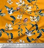 Soimoi Orange Viskose Chiffon Stoff Robin, Blätter &