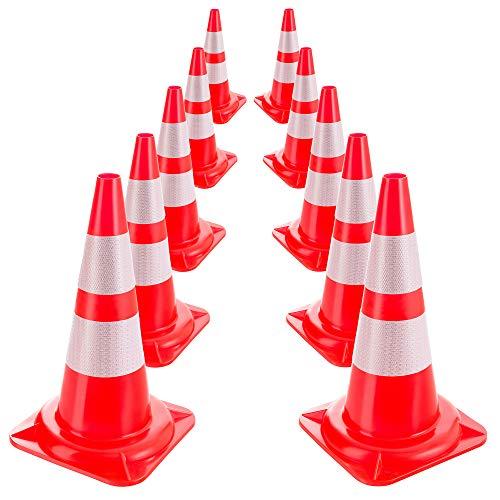 Arebos 10x Verkehrsleitkegel/Reflektierende Warnleitkegel/Pylone/Orange-Weiß/Leitkegel 50 cm
