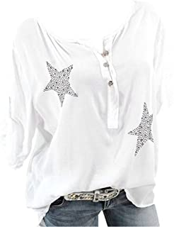 Aniywn Plus Size Women's Button Roll Up Blouse Casual 3/4 Sleeve Star Printed Tops T-Shirt