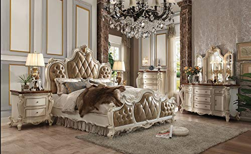 Review Esofastore Antique Pearl Finish Tufted Fabric Bedroom Furniture Queen Size Bed 4pc Set