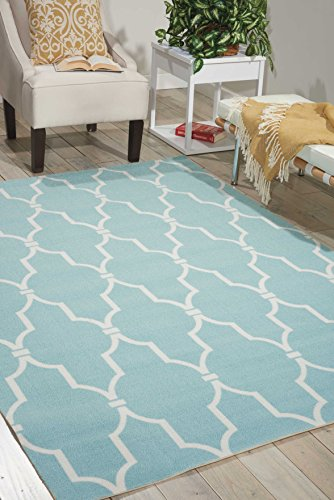 Nourison Home & Garden Aqua Rectangle Area Rug, 5-Feet 3-Inches by 7-Feet 5-Inches (5'3' x 7'5')
