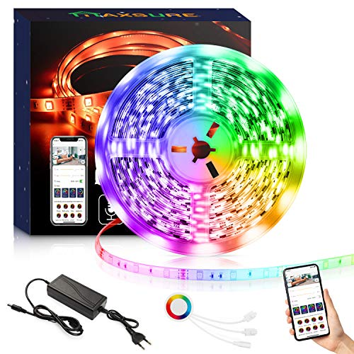 petit un compact Bande LED Maxsure Alexa 5M, Bande LED étanche WiFi 5050 RGB, Contrôle Smartphone, Compatibilité…