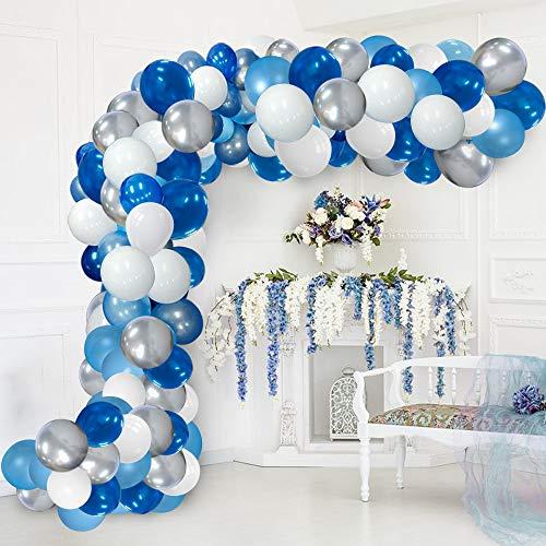 Blue Balloon Garland Kit Blue White Sliver Balloon Garland Arch Kits Metallic Royal Blue Balloons Arch For Birthday Party