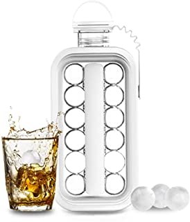 Ice Cube Molds,Ice Cube Trays, 2 in 1 Portable Ice Ball Maker Kettle,Easy to Make 17 Grids Flat Body Ice Ball for Home,Par...