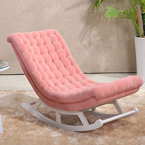 HYYTY-Y Einzelner Schaukelstuhl aus Leder, Massivholz Lazy Couch Leisure Terrace Recliner 619-YY (Color : Cloth - pink)