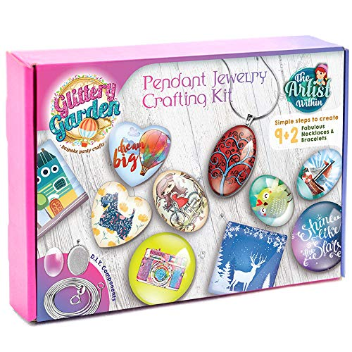 Girls Jewelry Making Kit. DIY Necklace Pendant and Bracelet Crafting Set with Glass Beads & Charms - Fashion Accessories, Arts & Crafts Supplies. Great as Handmade Gift & Group Activity
