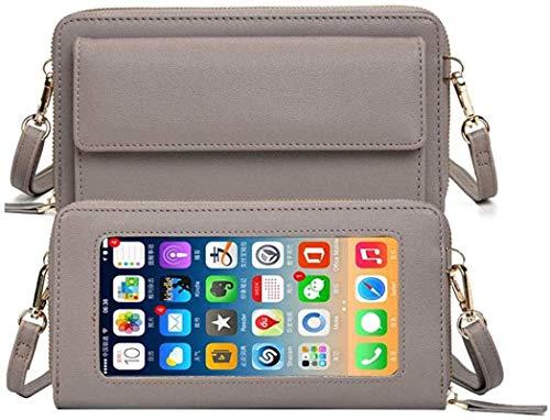 Monedero para mujer, funda para el hombro, pantalla táctil, bolso de hombro, cartera, de piel, protección RFID, cartera con 16 compartimentos para tarjetas, pequeño bolsillo para iPhone 12/11/XR/Xs